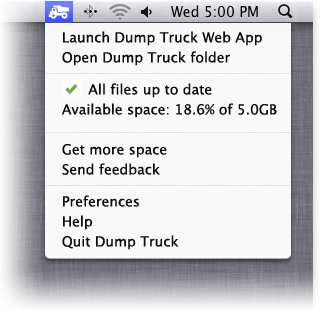 Access Dump Truck from the notifications tray